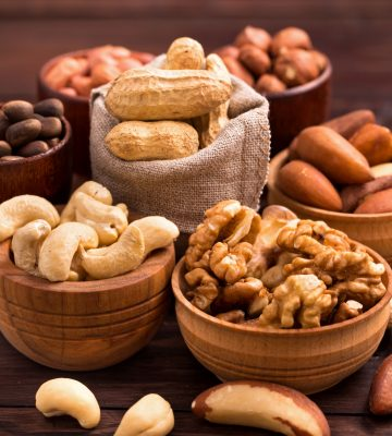 Variety of nuts: walnut, hazelnut, cashew, peanuts,  pine nuts and other